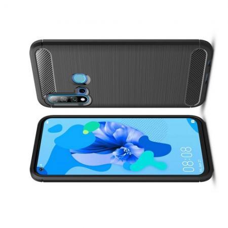Carbon Fibre Силиконовый матовый бампер чехол для Huawei nova 5i / P20 lite 2019 Черный