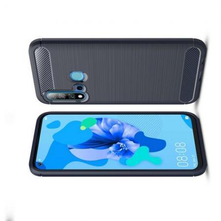 Carbon Fibre Силиконовый матовый бампер чехол для Huawei nova 5i / P20 lite 2019 Синий