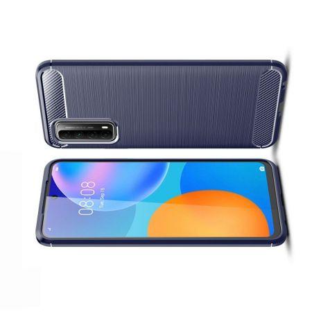Carbon Fibre Силиконовый матовый бампер чехол для Huawei P Smart 2021 Синий