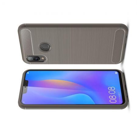 Carbon Fibre Силиконовый матовый бампер чехол для Huawei P smart+ / Nova 3i Серый