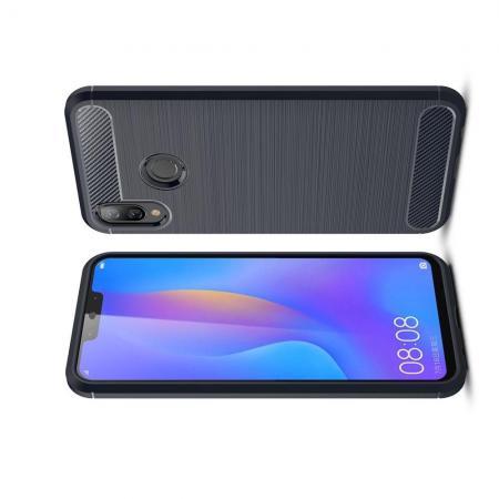 Carbon Fibre Силиконовый матовый бампер чехол для Huawei P smart+ / Nova 3i Синий