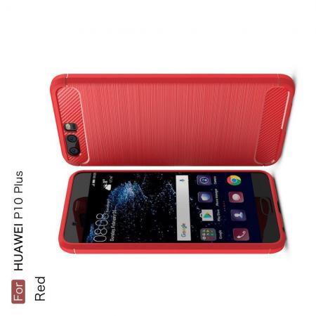 Carbon Fibre Силиконовый матовый бампер чехол для Huawei P10 Plus Коралловый