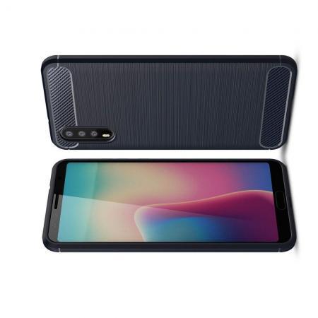 Carbon Fibre Силиконовый матовый бампер чехол для Huawei P20 Синий