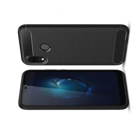Carbon Fibre Силиконовый матовый бампер чехол для Huawei P20 lite Черный