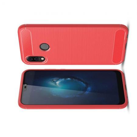 Carbon Fibre Силиконовый матовый бампер чехол для Huawei P20 lite Коралловый