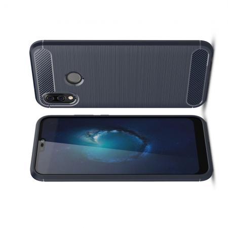 Carbon Fibre Силиконовый матовый бампер чехол для Huawei P20 lite Синий