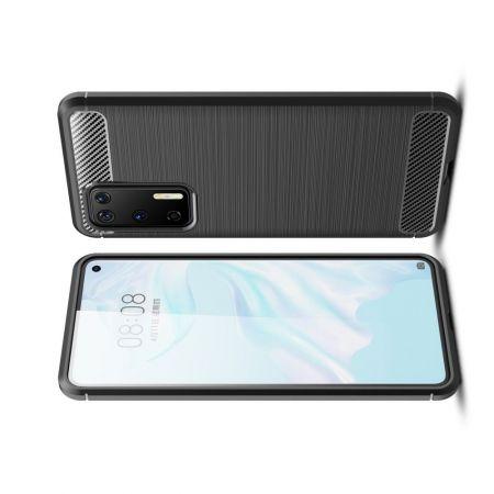 Carbon Fibre Силиконовый матовый бампер чехол для Huawei P40 Черный