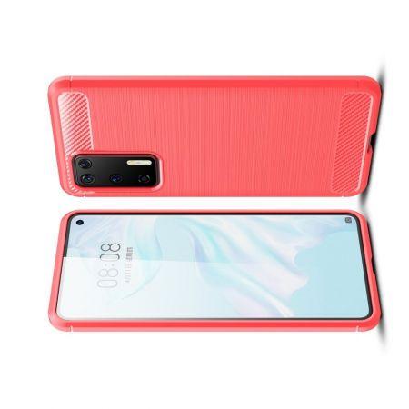 Carbon Fibre Силиконовый матовый бампер чехол для Huawei P40 Красный