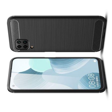 Carbon Fibre Силиконовый матовый бампер чехол для Huawei P40 Lite Черный