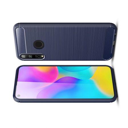 Carbon Fibre Силиконовый матовый бампер чехол для Huawei P40 lite E / Honor 9C Синий