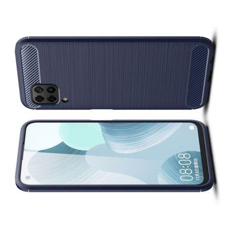 Carbon Fibre Силиконовый матовый бампер чехол для Huawei P40 Lite Синий