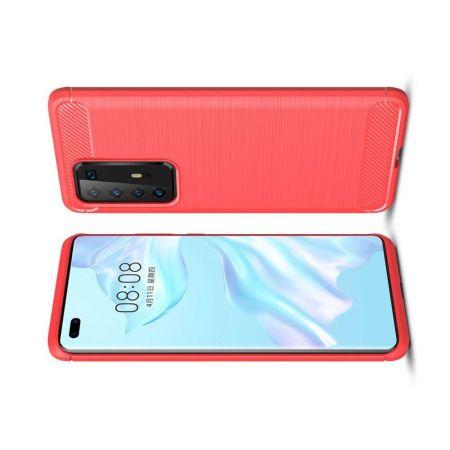 Carbon Fibre Силиконовый матовый бампер чехол для Huawei P40 Pro Красный