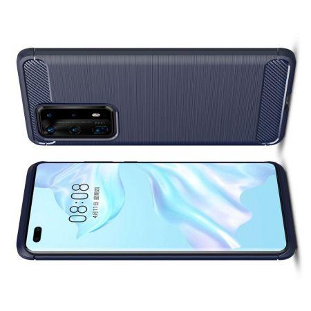 Carbon Fibre Силиконовый матовый бампер чехол для Huawei P40 Pro+ / Pro Plus Синий