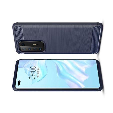 Carbon Fibre Силиконовый матовый бампер чехол для Huawei P40 Pro Синий