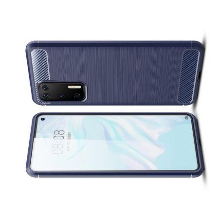 Carbon Fibre Силиконовый матовый бампер чехол для Huawei P40 Синий