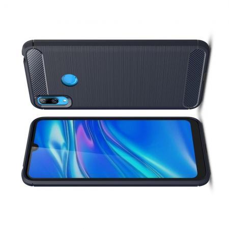 Carbon Fibre Силиконовый матовый бампер чехол для Huawei Y7 2019 Синий