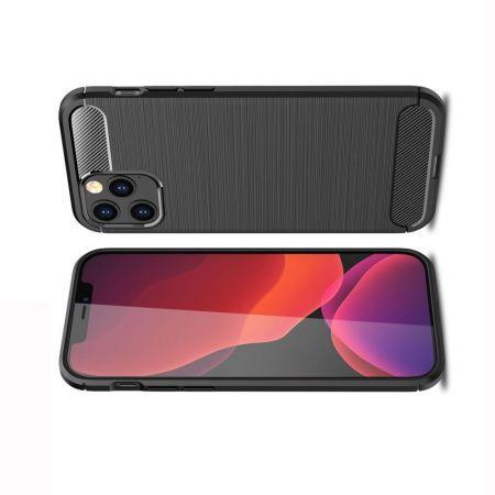 Carbon Fibre Силиконовый матовый бампер чехол для iPhone 12 / 12 Pro Черный