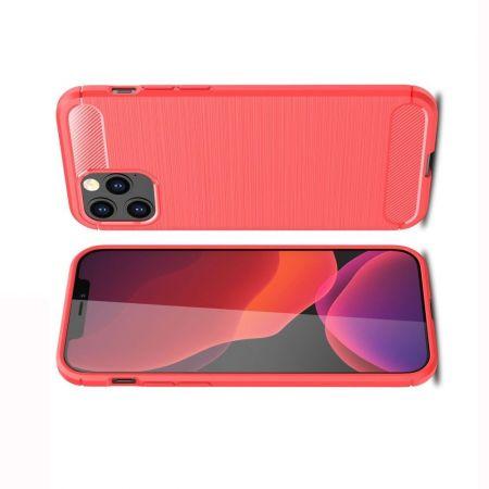 Carbon Fibre Силиконовый матовый бампер чехол для iPhone 12 / 12 Pro Красный