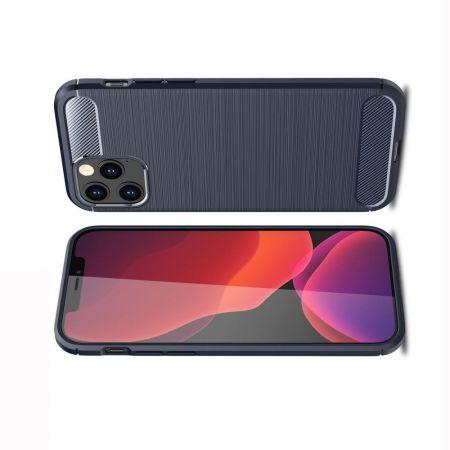 Carbon Fibre Силиконовый матовый бампер чехол для iPhone 12 / 12 Pro Синий