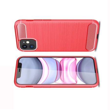 Carbon Fibre Силиконовый матовый бампер чехол для iPhone 12 mini Красный