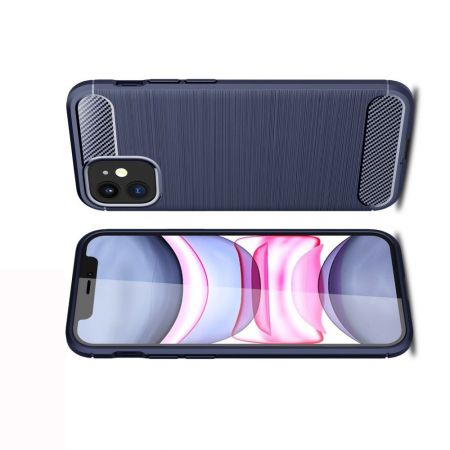 Carbon Fibre Силиконовый матовый бампер чехол для iPhone 12 mini Синий