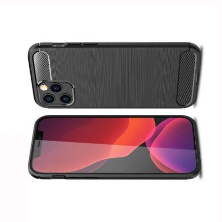 Carbon Fibre Силиконовый матовый бампер чехол для iPhone 12 Pro Max Черный