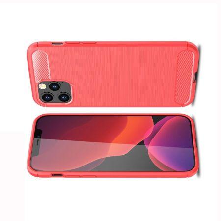Carbon Fibre Силиконовый матовый бампер чехол для iPhone 12 Pro Max Красный