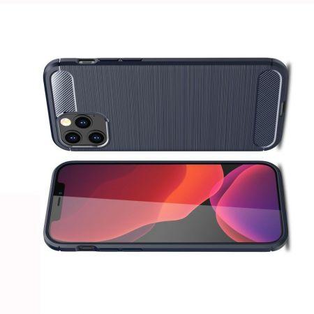 Carbon Fibre Силиконовый матовый бампер чехол для iPhone 12 Pro Max Синий