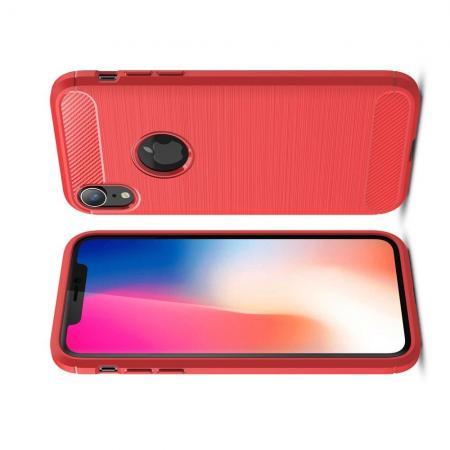 Carbon Fibre Силиконовый матовый бампер чехол для iPhone XR Красный
