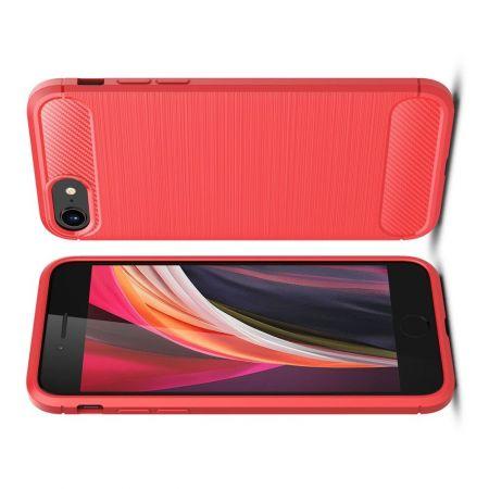 Carbon Fibre Силиконовый матовый бампер чехол для iPhone SE 2020 Красный