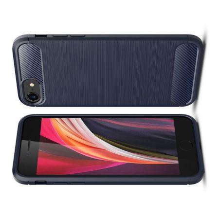 Carbon Fibre Силиконовый матовый бампер чехол для iPhone SE 2020 Синий