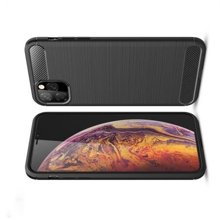 Carbon Fibre Силиконовый матовый бампер чехол для  iPhone XI Max Черный
