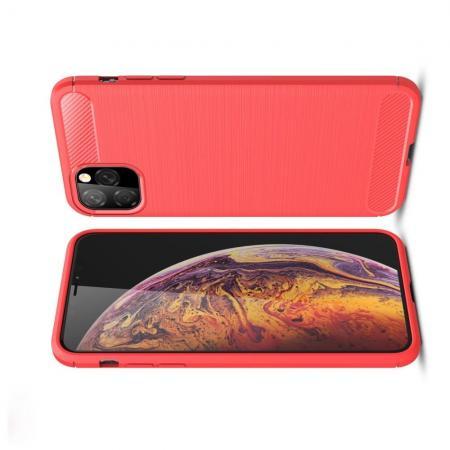 Carbon Fibre Силиконовый матовый бампер чехол для  iPhone XI Max Коралловый