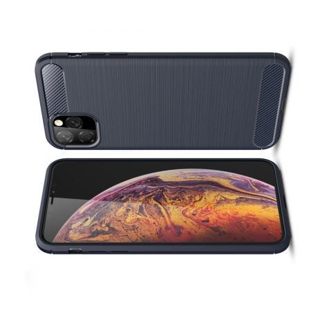 Carbon Fibre Силиконовый матовый бампер чехол для  iPhone XI Max Синий