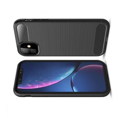 Carbon Fibre Силиконовый матовый бампер чехол для iPhone 11 Черный