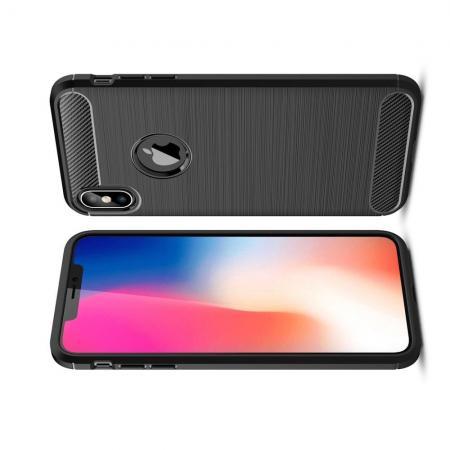Carbon Fibre Силиконовый матовый бампер чехол для iPhone XS Max Черный