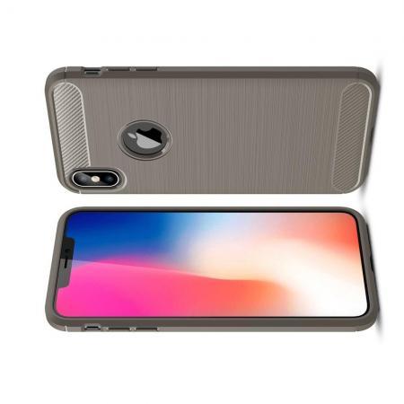 Carbon Fibre Силиконовый матовый бампер чехол для iPhone XS Max Серый