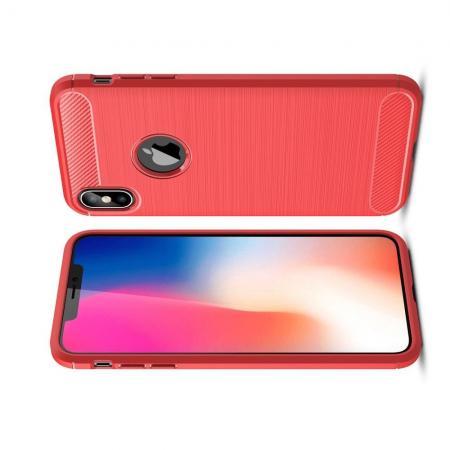 Carbon Fibre Силиконовый матовый бампер чехол для iPhone XS Max Коралловый