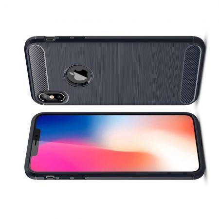Carbon Fibre Силиконовый матовый бампер чехол для iPhone XS Max Синий