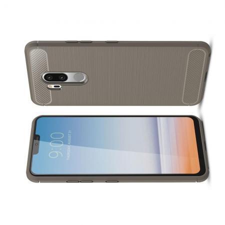Carbon Fibre Силиконовый матовый бампер чехол для LG G7 ThinQ Серый