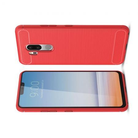 Carbon Fibre Силиконовый матовый бампер чехол для LG G7 ThinQ Коралловый