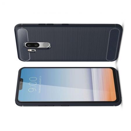 Carbon Fibre Силиконовый матовый бампер чехол для LG G7 ThinQ Синий