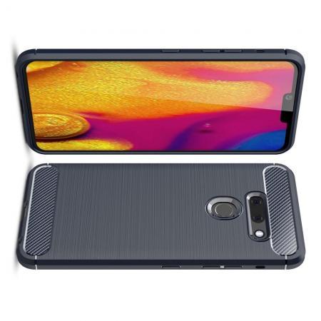Carbon Fibre Силиконовый матовый бампер чехол для LG G8 ThinQ Синий