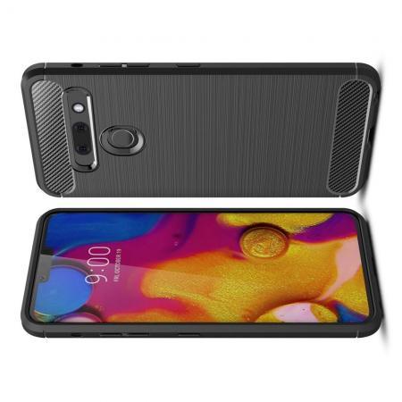 Carbon Fibre Силиконовый матовый бампер чехол для LG G8s ThinQ Черный