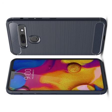 Carbon Fibre Силиконовый матовый бампер чехол для LG G8s ThinQ Синий