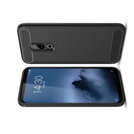 Carbon Fibre Силиконовый матовый бампер чехол для Meizu 16 Черный