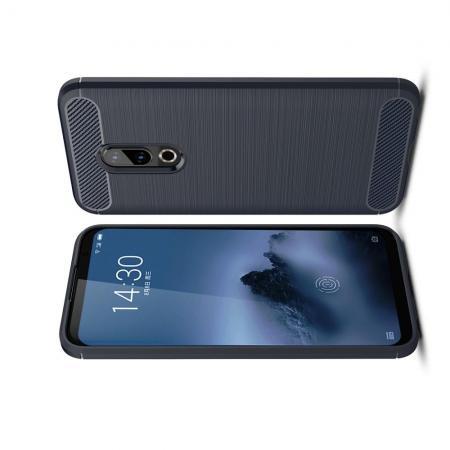 Carbon Fibre Силиконовый матовый бампер чехол для Meizu 16 Синий