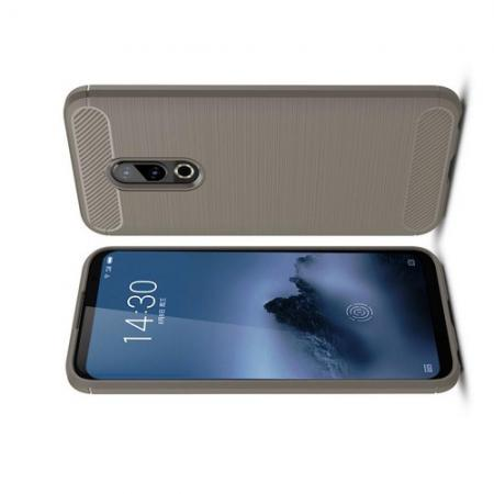 Carbon Fibre Силиконовый матовый бампер чехол для Meizu 16 Plus Серый