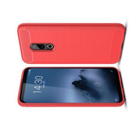 Carbon Fibre Силиконовый матовый бампер чехол для Meizu 16 Plus Коралловый