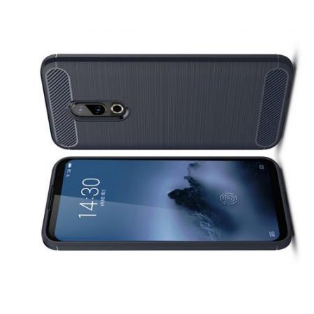 Carbon Fibre Силиконовый матовый бампер чехол для Meizu 16 Plus Синий